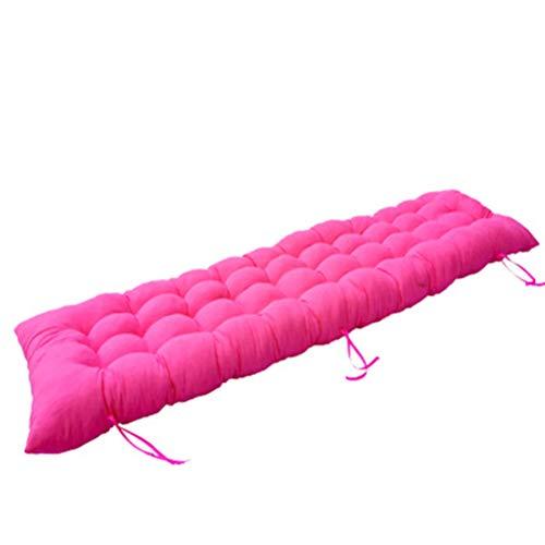 Sitzkissen für draußen, dicke Liegestuhl, Gartenschaukel, lange Stuhl-Rückenkissen, rutschfeste Sofa-Matte mit Bändern, für 2- und 3-Sitzer, Rosa, 175 x 48 x 8 cm