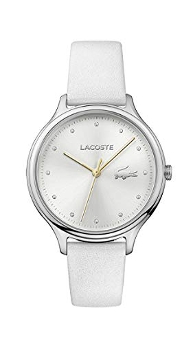 Lacoste Relógio feminino Constance Quartz de aço inoxidável e pulseira de couro, branco, 2001005