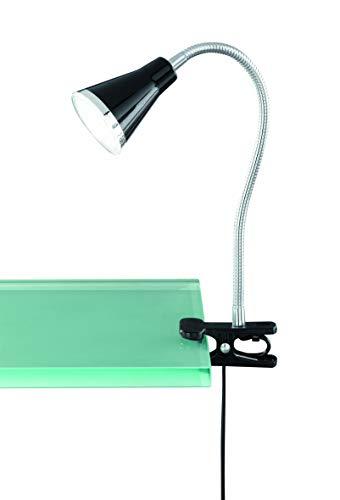 Trio Leuchten Modern Klemmlampe Funnel LED schwarz/Innenbeleuchtung/Wohnzimmer/Schlafzimmer/Küche/Nachttischleuchte Kunststoff/Metall/Rund inklusive LED (nicht austauschbare) LED Max. 1