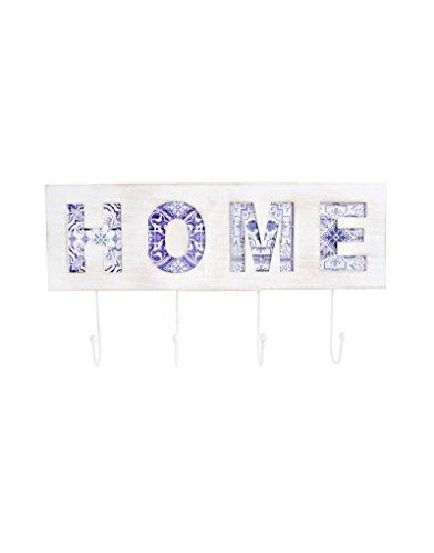 Wandkapstok met 4 haken van natuurlijk hout en metaal voor de ingang. Home Edition 21 x 21 cm - huis en meer