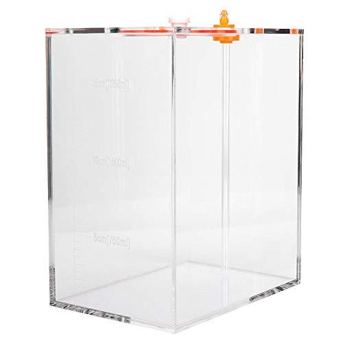 Pssopp Acuario acrílico Cubo de almacenamiento líquido Depósito de dosificación transparente Depósito de medición con escala (DT-25 2,5 L)