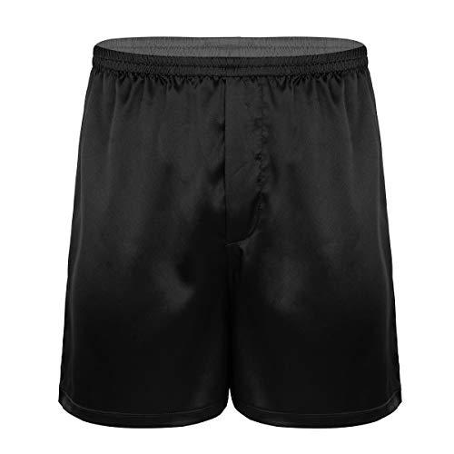 FEESHOW Herren Locker Boxershorts Glanz Satin Shorts Kurz Hose Männer Schlafanzughose hohe Taille Strandhose Atmungsaktiv Schwarz X-Large