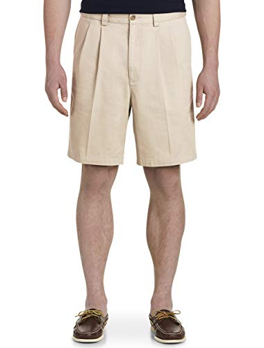 Harbor Bay by DXL Big and Tall Waist-Relaxer Pleated Twill Shorts, Stone, 44 R