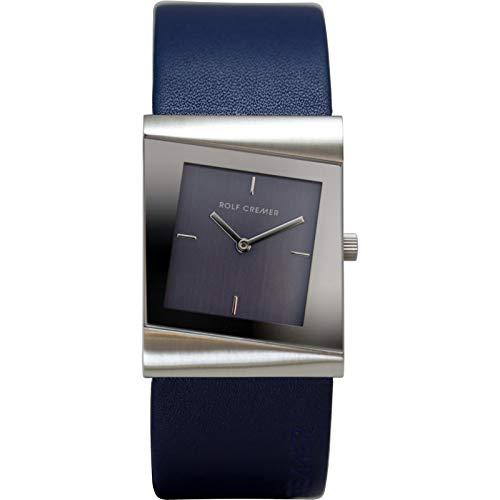 Uhr - Safe - Edelstahl Leder - blau/silberfarben