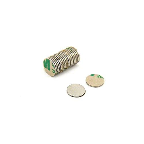 First4magnets SP095075SA-20 Selbstklebende 9,5 x 0,75 mm dicken N35 Neodym-Magneten - Süden zeigen (Packung mit 20), silver, 25 x 10 x 3 cm, Stück