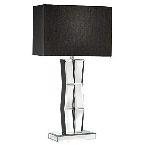 Lámpara de mesa Mirror en madera negra con pantalla rectangular de seda artificial.