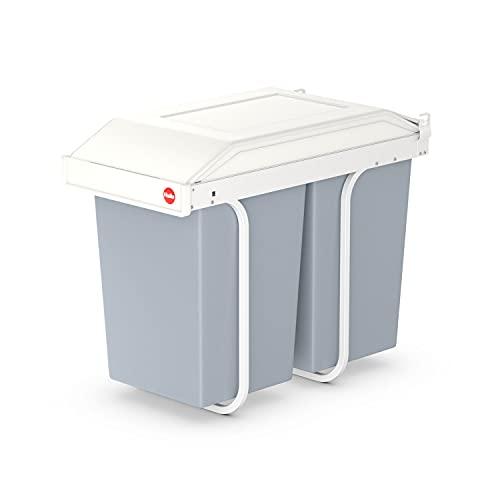 Hailo Multi-Box duo L Einbau-Mülltrennungs-System | 2 x 14 L | 28 L | Einbaumülleimer mit verfahrbarem Deckel | für Unterschränke ab 30cm | Stahlblech | einfache Montage | Made in DE | cremeweiß