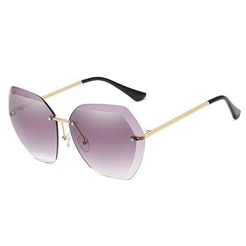 WHSS Gafas de Sol Gafas de Sol de Playa Gafas de Sol Ocean Piece Gafas de Sol sin Marco Mujeres Retro Visera Metal - Púrpura