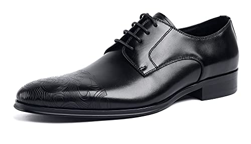 [SERDAOMANI] メンズシューズ 紐 レザー ビジネスシューズ レースアップ サドルシューズ ストレートチップフォーマル 本革 革靴 内羽根 紳士靴 ラウンドトゥ メダリオン ドレスシューズ ウエスタン オフィス ブラック 294-801 (ブラッ