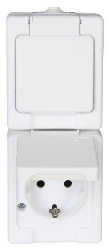 Kopp 130302005 Aufputz-Feuchtraum Schutzkontaktsteckdose 2-fach mit Klappdeckel, IP44, Standard