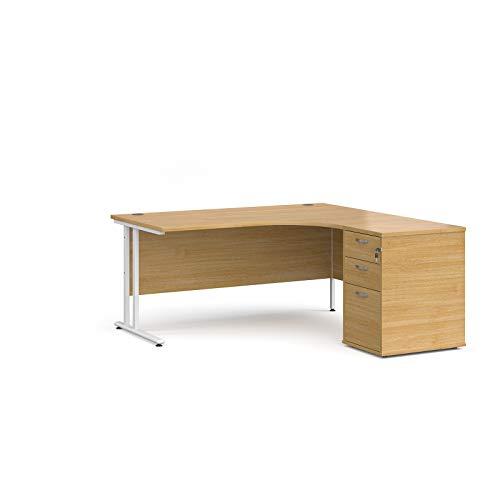 Mr Office Furniture Ltd Maestro 25 right hand ergonomic desk, white frame – with desk high...