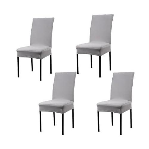 BINGNNENG 4PCS Housses Couvertures de Chaise Universe élastique Extensibles et Lavables Stretch-Housse pour Protection Chaise Salle à Manger(Gris)