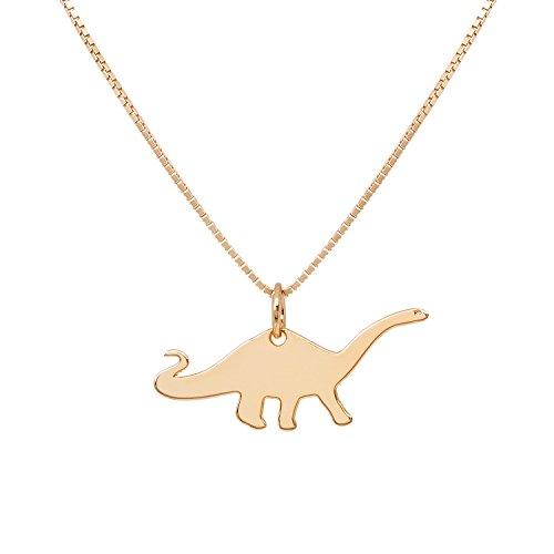Malaika Raiss Halskette Damen Gold Dinosaurier Brontosaurus - Tolle Qualität Kette und Dino 24 Karat Hochglanz Vergoldet - N3111d