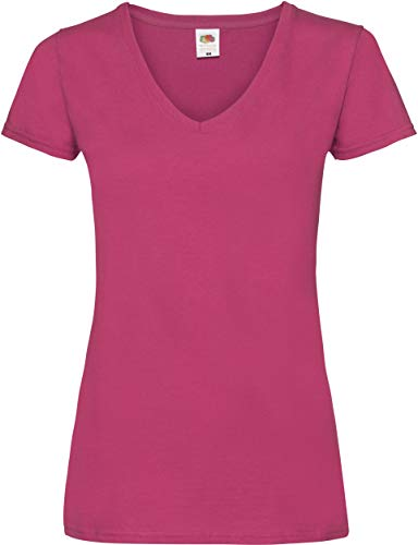 Lady-Fit Valueweight V-Neck T-Shirt von Fruit of the Loom Fuchsia L