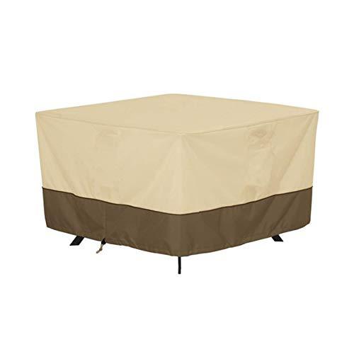 Kei Cubierta Cuadrada para Mesa de Jardín Fundas para Muebles de Jardín Tela Oxford 420D Cubierta para Mesa para Exteriores Impermeable a Prueba de Polvo,Beige,102x102x58cm