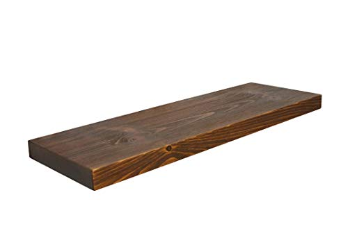 Joel's Antiques, 2' Thick x 12' Deep, Floating Shelf, Heavy Duty, Easy Hang, Solid Wood, Rustic / Contemporary, USA Handmade (Medium Brown, 24')