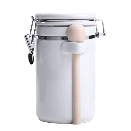 UCYG Dosen Vorratsdosen mit Deckel, Aufbewahrungsbox Küche Klein Zuckerdose Kaffeedose Luftdicht Keramik für Küche Aufbewahrung Behälter, Premium Porzellan, 1.5L (Color : White)