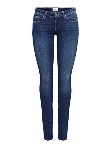 Only Onlcoral Life SL Skinny REA285 Noos Pantaloni, Blu Jeans Scuro, 28W x 30L Donna
