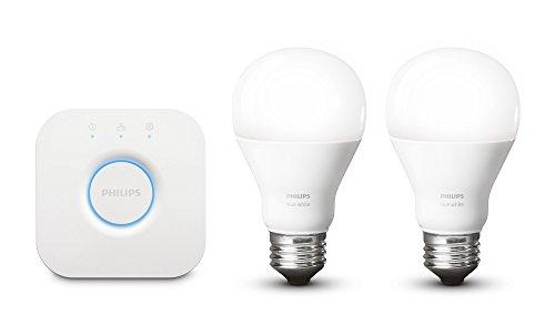 Philips Hue weiß Personal Wireless Lighting LED Starter Kit, 2x9,5W E27Hue weiß Leuchtmittel, 1x Hue Bridge 2.0, Apple Home Kit aktiviert, Kompatibel mit Alexa, glas, weiß, Starter, E27 8.5watts