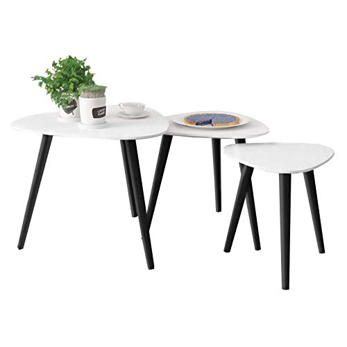 Voilamart Nest of 3 Table with Metal Legs Scandinavian Side Table Triangle End Table Coffee Tables White