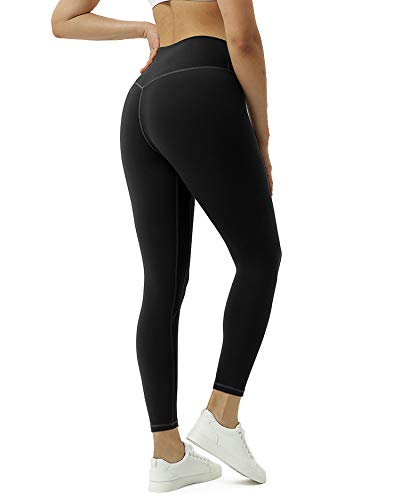 Women High Waisted Yoga Pants with Inner Pockets,Naked Feeling Tummy Control Capris Plus Size,4 Way Stretch Workout Leggings(Black,L)