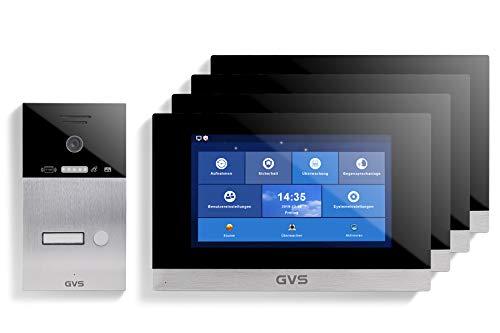 GVS Videoportero IP IP65 con RFID, monitor de 4 x 10 pulgadas, aplicación, cámara HD de 120°, apertura de puertas, memoria de 32 GB, interruptor PoE, 1 set para vivienda familiar, AVS4058A