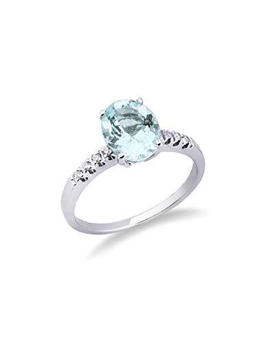 Gioielli di Valenza - Anello in oro bianco 18k con diamanti e acquamarina - ANN148BBA - 22