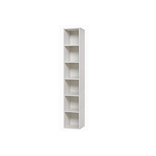 Pensile Libreria Bianco Frassinato 6 Ripiani S/Anta Cm 30x30xh 180