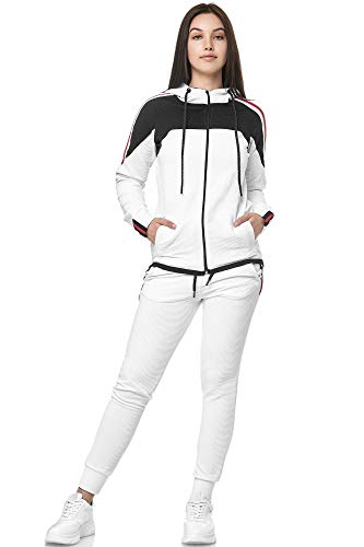 Damen Jogginganzug Trainingsanzug Sportanzug Fitness Streetwear 1148C (Weiss, 2XL)