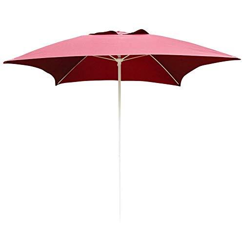 HXCD Sombrilla de jardín con protección de Parasol de 2.0M, sombrilla con Dosel para protección UV Plegable estándar para balcón, terraza, jardín, sombrilla al Aire Libre, Refugio, Rojo