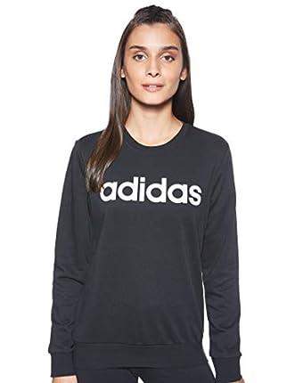 adidas W E Lin Sweat Sudadera, Mujer, Negro (Black/White), S
