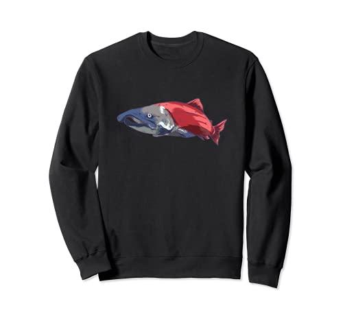 Salmon Chinook Sockeye King Salmonidae - Trout para pesca de salmón, color rojo Sudadera