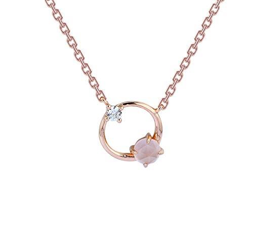 QERTYU 925 Silber Mode OL Rose Gesicht Hibiskus Halskette Rosa Kristall Schlüsselbein Kette