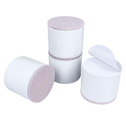 Ezprotekt Elevadores de Muebles de 5 cm, Elevadores de Cama de Acero al Carbono, Diámetro de 6 cm, Autoadhesivos, Resistentes, Añade 5 cm de Altura a las Camas y Sofás,Redondo Blanco