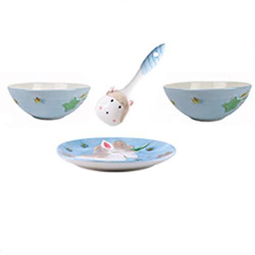 JIASHIQI Bandejas para Hornear, cucharas, Tazas de Desayuno, Dibujos Animados Lindo Children's Ceramic Shareware Set, Platos, tazones (Color : Blue, Size : (1) 4-Piece Set)