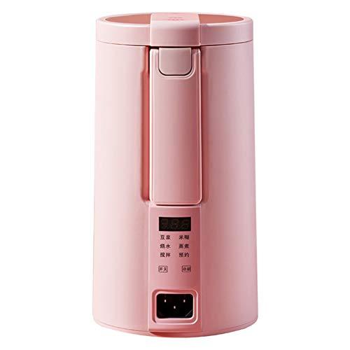 DIDIOI 220V Elektrische Soymilk, Maschinen Multicooker Mini heizbar Soja-Milch Entsafter Mixer Reispaste Maker Filter frei mit Dampfgarer,Rosa