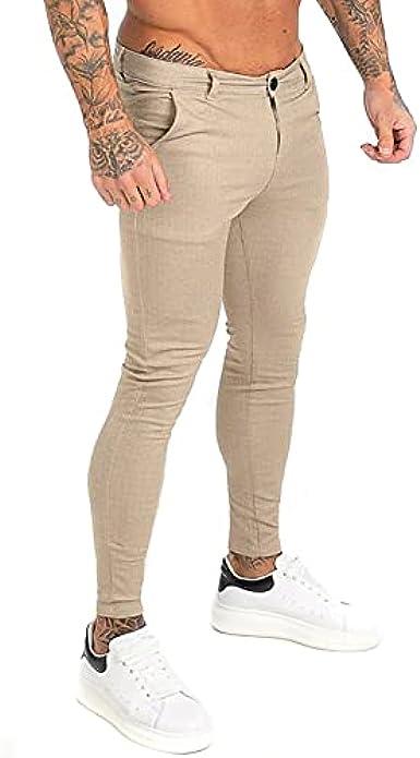 MG MORENGAR Pantalon Roma - Chino Beige Ajustados y Elegante para Hombre. Pantalón Beige elástico de Vestir para Hombre de Ajuste Cintura a Tobillos. Pantalones de Vestir