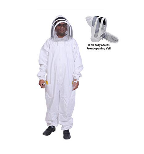 BeeAttire Bee Suit with Easy Access Veil Cotton Thick Sting-Less Protection Pro Beekeeper Suit Beekeeper Costume Adult bee Keeper Costume Beekeeping Suit bee Keeper Suit YKK Zippers (3XL)