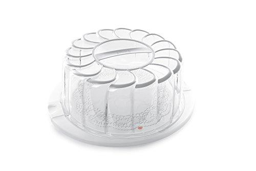Snips 000161 Porta Torta Trasparente con Decoro Bianco