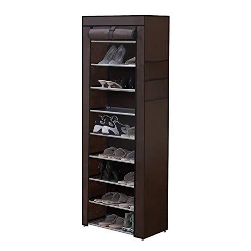 CLIPOP Zapatero de 10 niveles, organizador de almacenamiento, torre de zapatos para hasta 27 pares de zapatos con funda de tela Oxford a prueba de polvo, 60 x 30 x 160 cm (marrón)