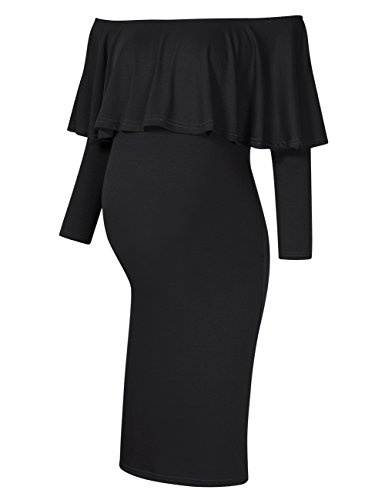MissQee Women's Maternity Dress Off Shoulder Long Sleeve Casual Maxi Dress (S, Black)