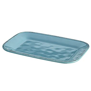 Rachael Ray Cucina Dinnerware Stoneware Rectangular Platter, 8  by 12 , Agave Blue