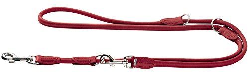 HUNTER ROUND & SOFT ELK Verstellbare Hundeführleine, Leder, weich, rund, 1,0 x 200 cm, chili