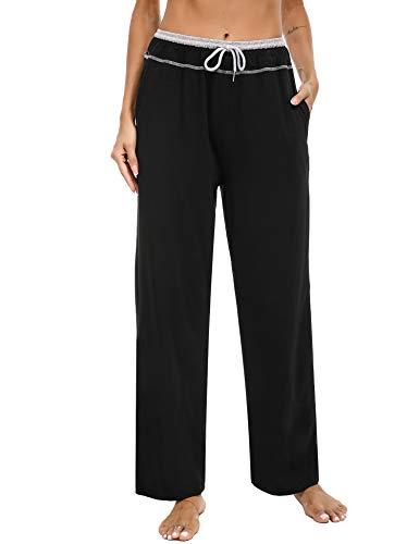 Sykooria Pantalon de Jogging Femme Long avec Poches, Cordon de Serrage Élasique, Pantalon de Yoga Coton Haute Taille Pantalon d'Entraînement Grande Taille pour Fitness/Yaga/Jogging/Training-Noir-XL