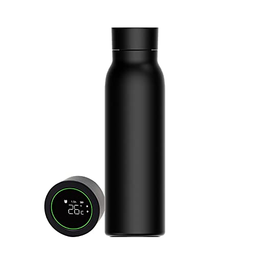 OOCOME Botella de agua con pantalla LED de temperatura, botella de agua inteligente de acero inoxidable, taza de doble pared aislada con pantalla inteligente recordatorio de temperatura