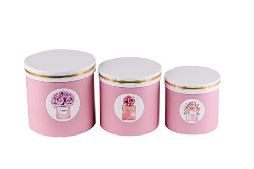 Juego de 3 cajas redondas para flores con cordón, caja de almacenamiento con tapa, caja de color liso, cajas de regalo personalizables, color albaricoque