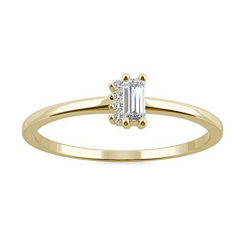 Charles & Colvard Forever One Ring - 14K Gelbgold - 4.0 mm Moisssanit - Baguette-Schliff - 0.136 ct. DEW - 57 (18.1)