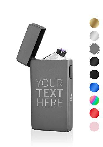 TESLA Lighter T13 Lichtbogen Feuerzeug, mit Wunsch-Gravur, personalisiert als Geschenk zu Weihnachten, Geburtstag etc. Elektronisches Feuerzeug, wiederaufladbar per USB Anthrazit