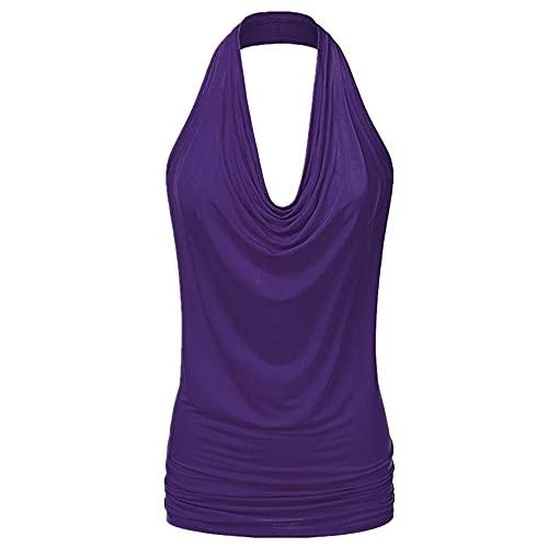 Blusa Mujer Sexy Cuello V Sin Mangas Color Sólido Camisa Mujer Verano Sin Espalda Chic Mujer Tops Vacaciones Viajes Mujer Shirt C-Purple L