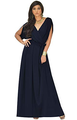 KOH KOH Plus Size Womens Long Formal Short Sleeve Cocktail Flowy V-Neck Casual Bridesmaid Wedding Party Guest Evening Cute Maternity Work Gown Gowns Maxi Dress Dresses, Navy Blue 2XL 18-20